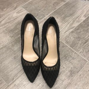 Mesh closed toed pointed heels